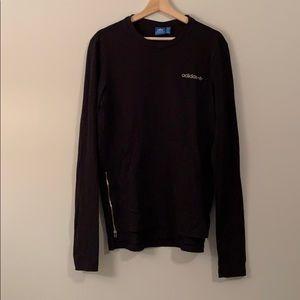 ADIDAS Black Long Sleeve Zipper Sweater